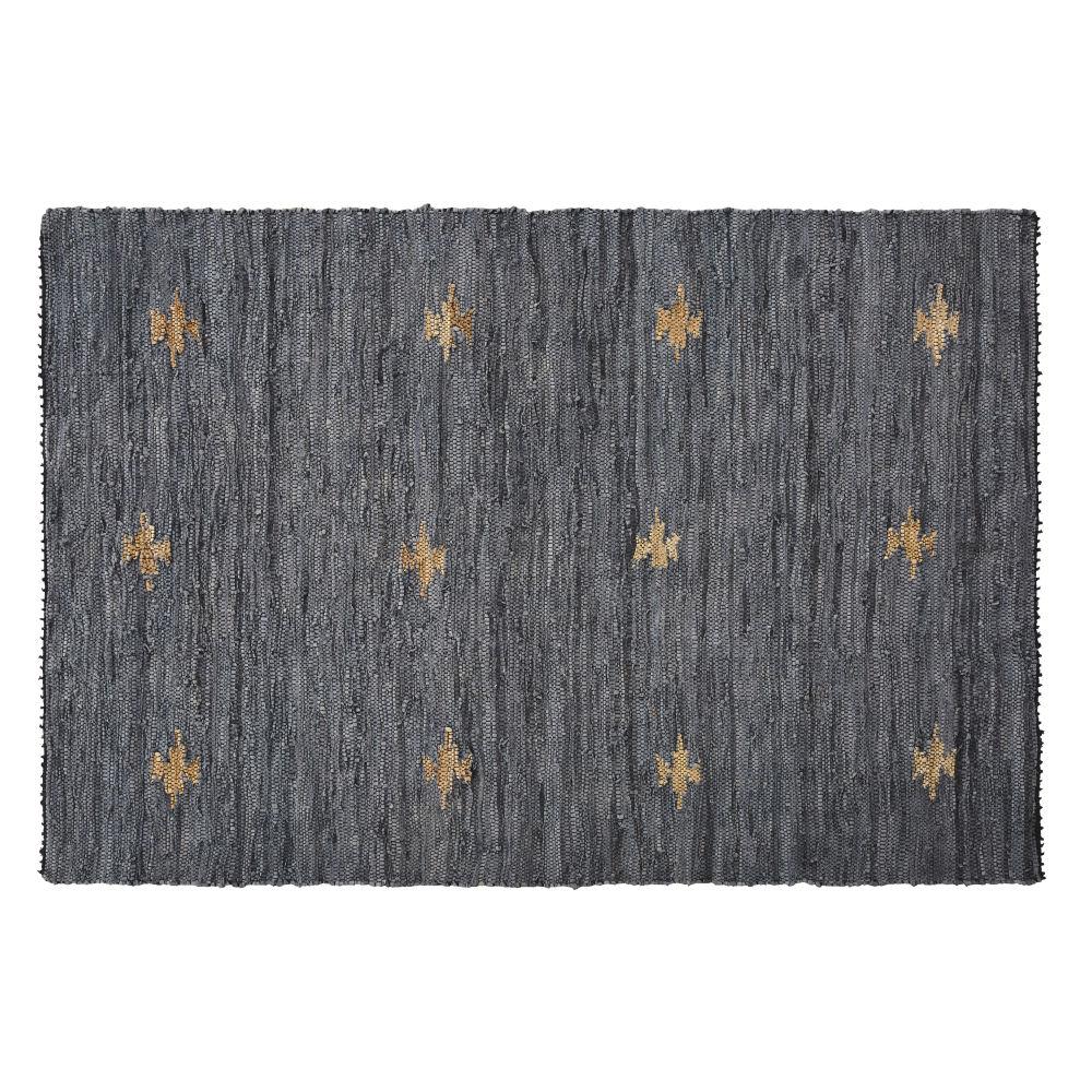 Tapis en cuir recyclé et coton bleu encre 140x200