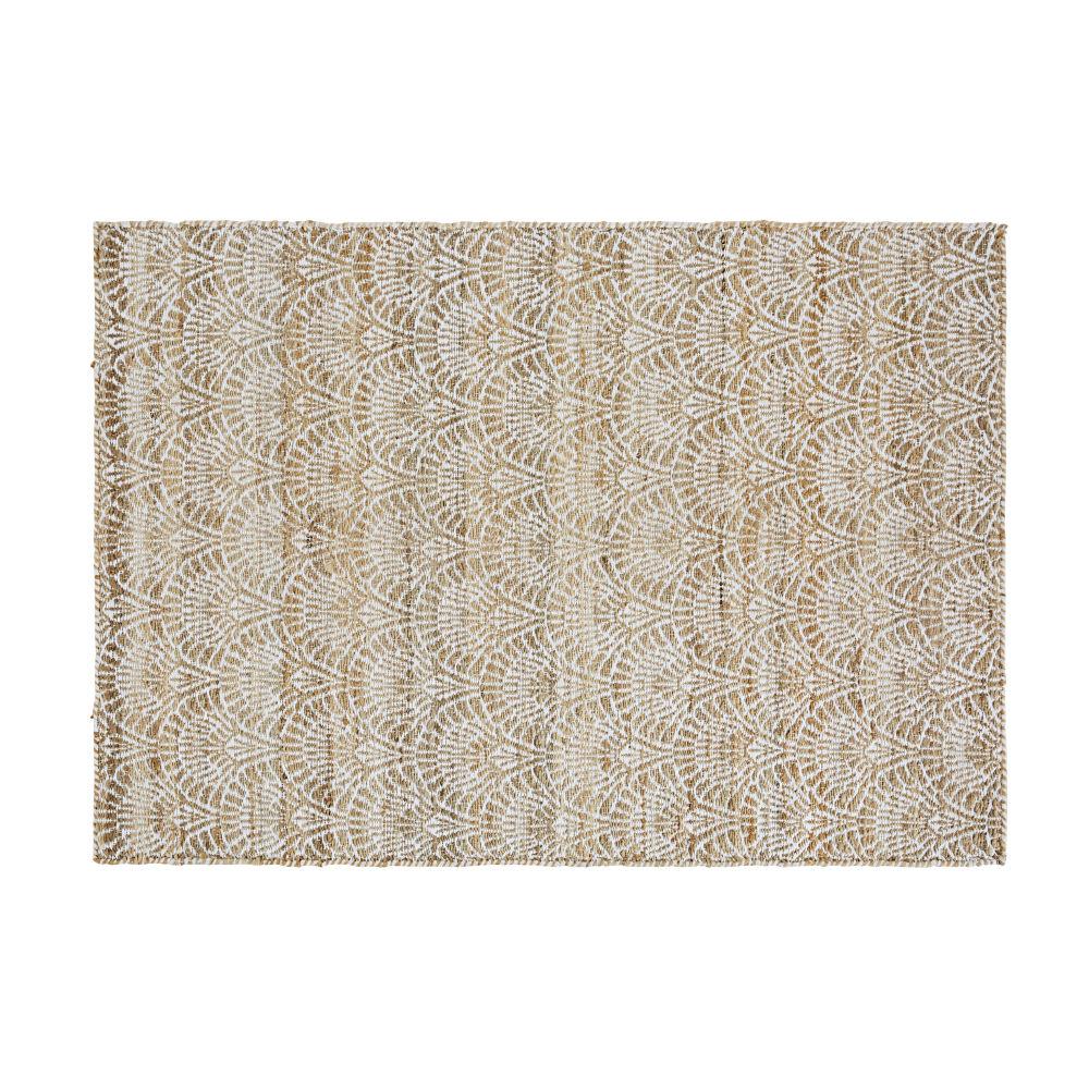 Tapis en jute et coton motifs vagues 120x180