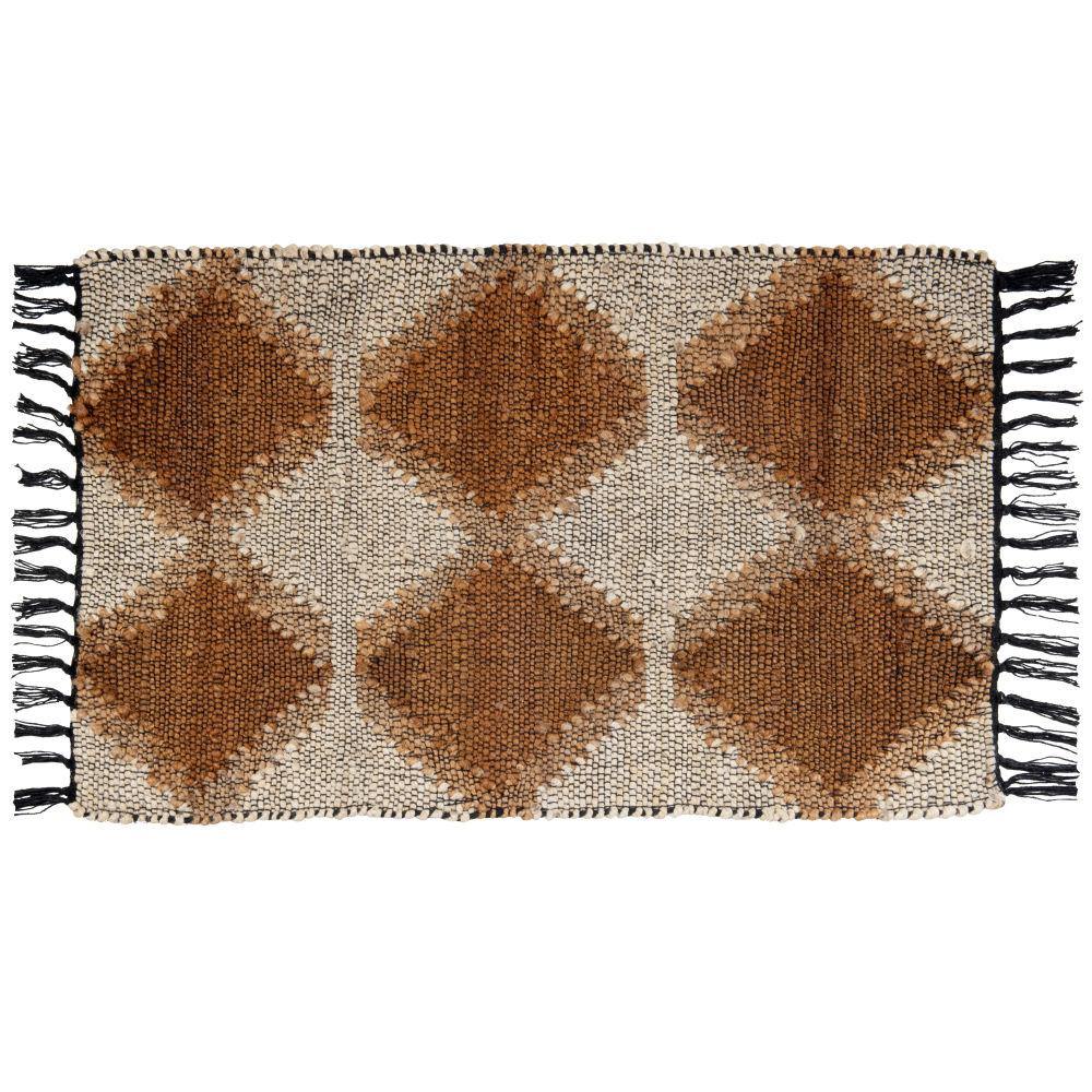 Tapis en jute et en coton marron, beiges et noirs 60x90