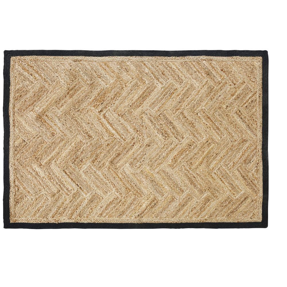 Tapis en jute tressé beige et coton gris anthracite 140x200