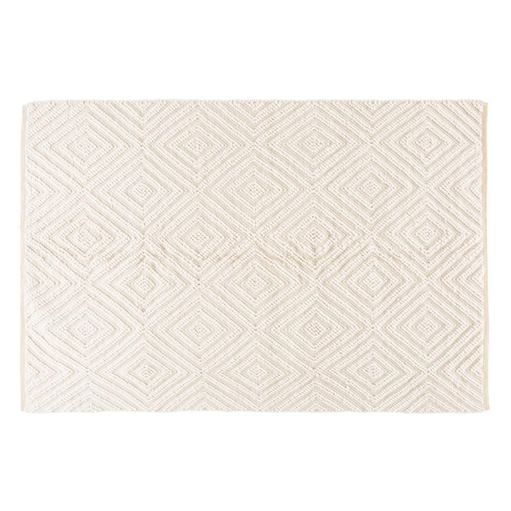 Tapis en laine et coton écru motifs graphiques 140x200