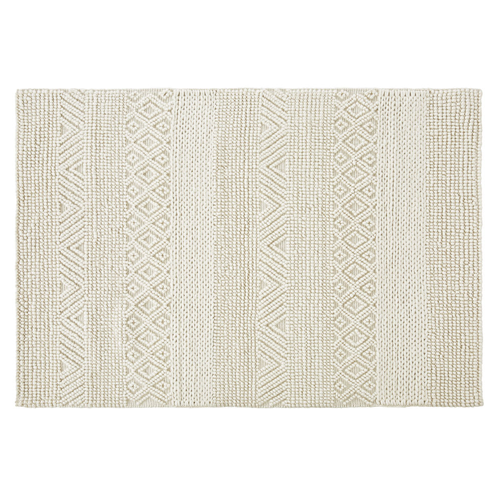 Tapis en laine et coton écrus nœuds en relief 140x200