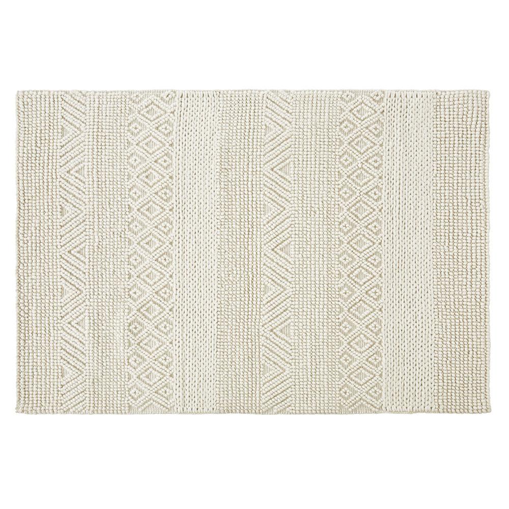 Tapis en laine et coton écrus nœuds en relief 160x230