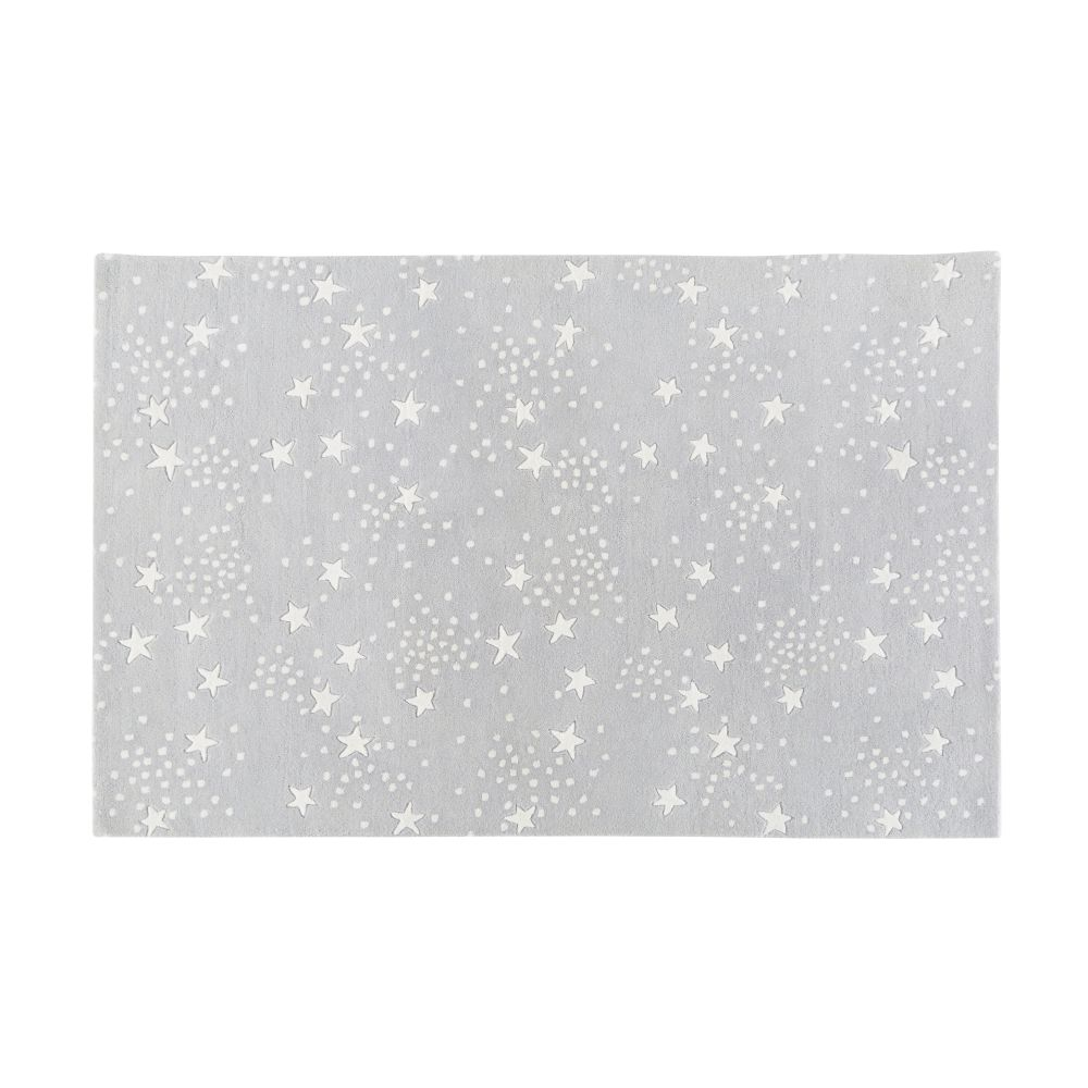 Tapis en laine et coton gris imprimé étoiles 120x180