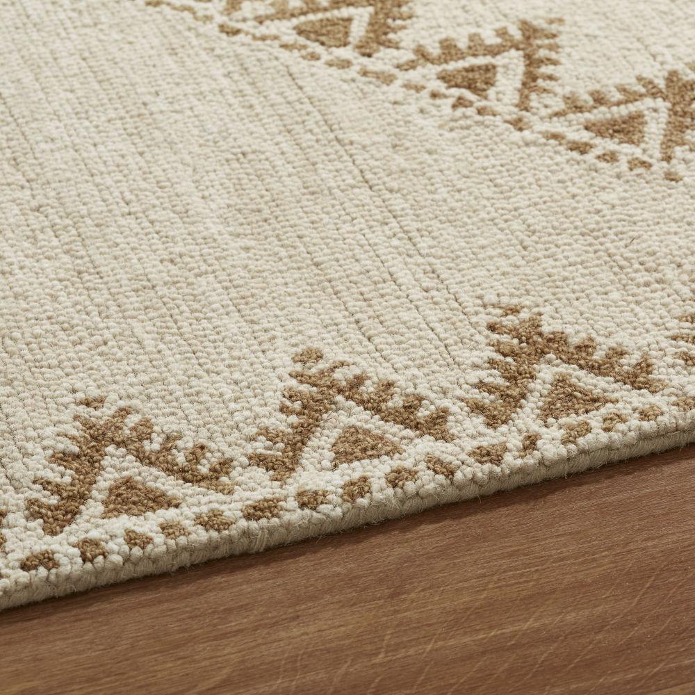 Tapis en laine noué main beige et écru avec franges tressées 160x230