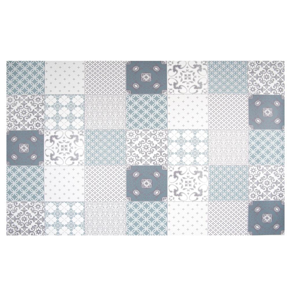 Tapis en vinyle motifs carreaux de ciment bleus, blancs et gris 150x100