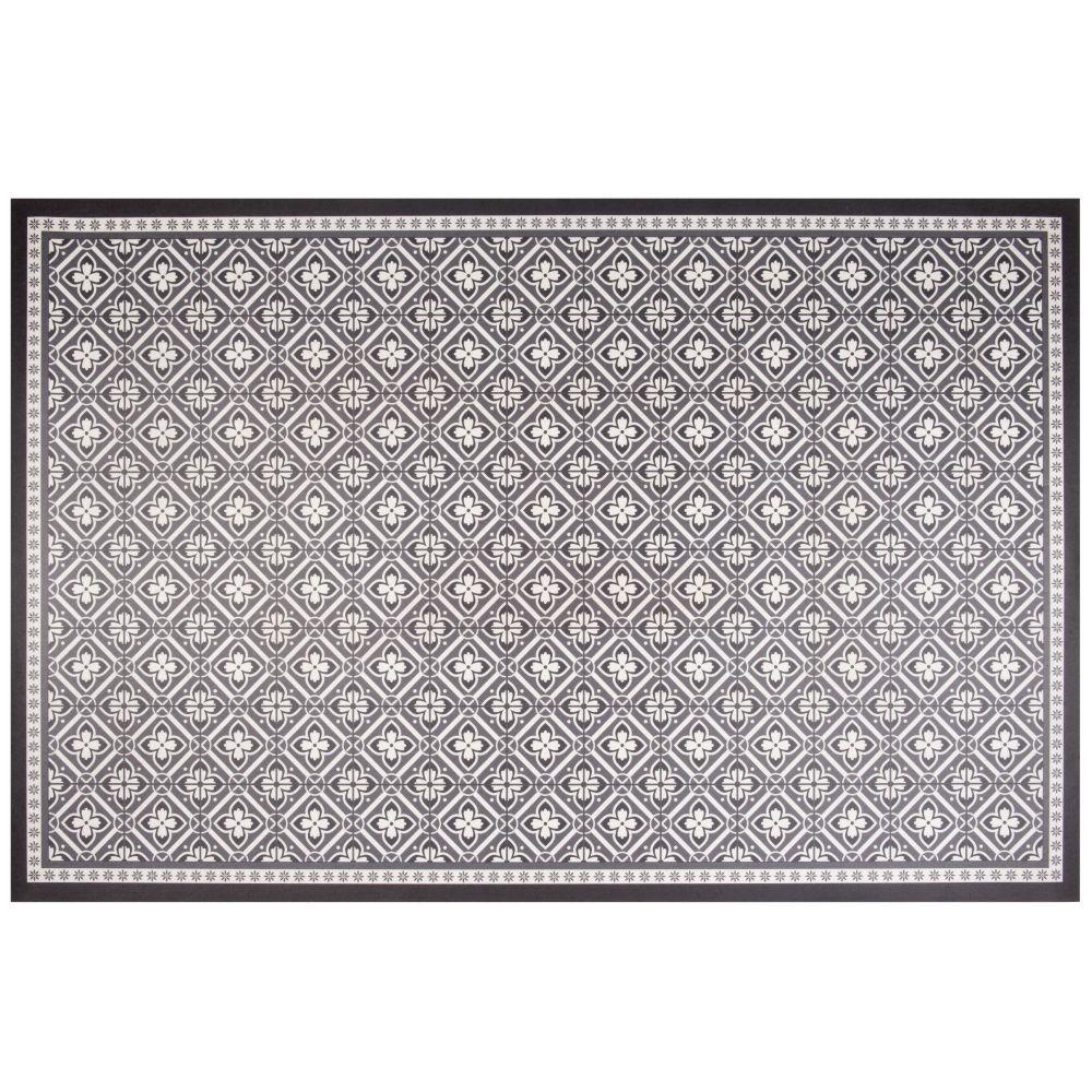 Tapis en vinyle motifs carreaux de ciment gris et blancs 150x100