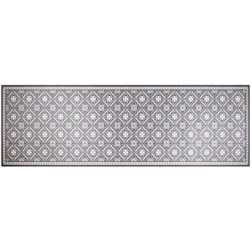 Tapis en vinyle motifs carreaux de ciment gris et blancs 60x199