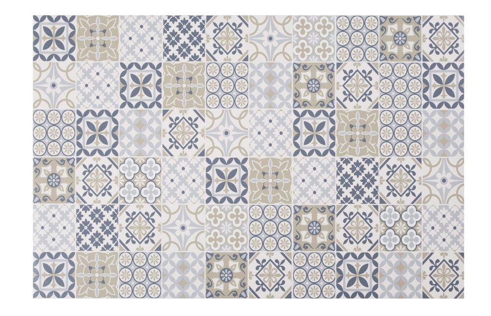 Tapis en vinyle motifs carreaux de ciment multicolores 100x150