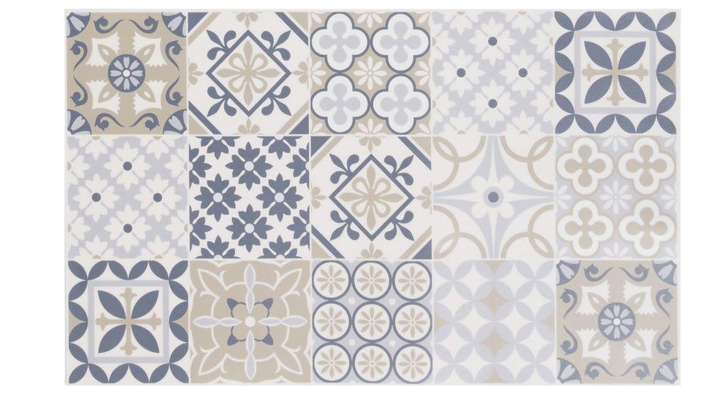 Tapis en vinyle motifs carreaux de ciment multicolores 50x80