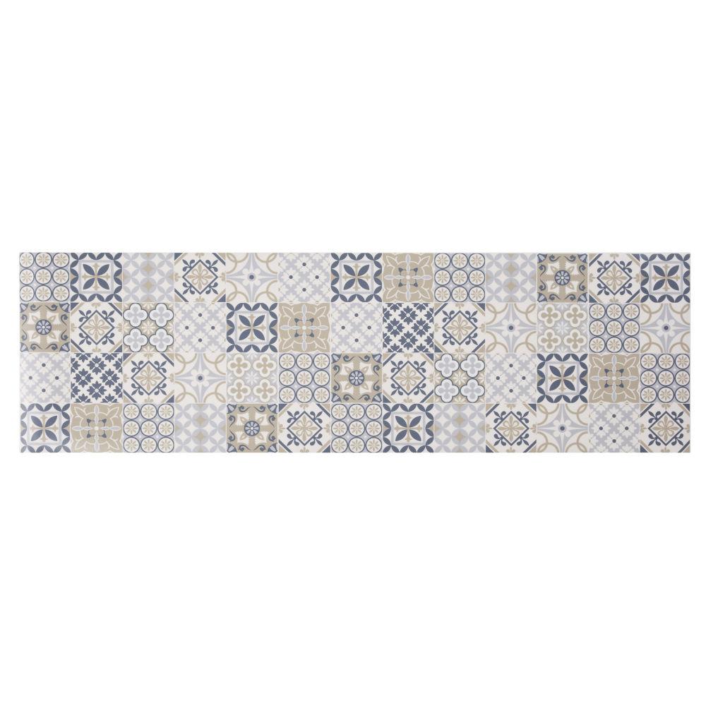 Tapis en vinyle motifs carreaux de ciment multicolores 60x199