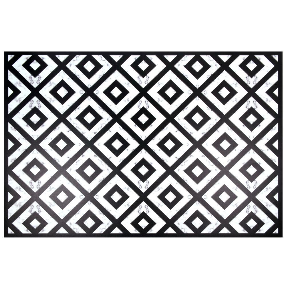 Tapis en vinyle noir et blanc à motifs 100x150