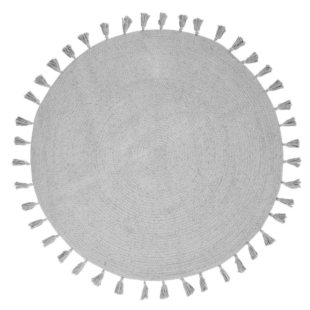 Tapis rond à pompons en coton gris D100