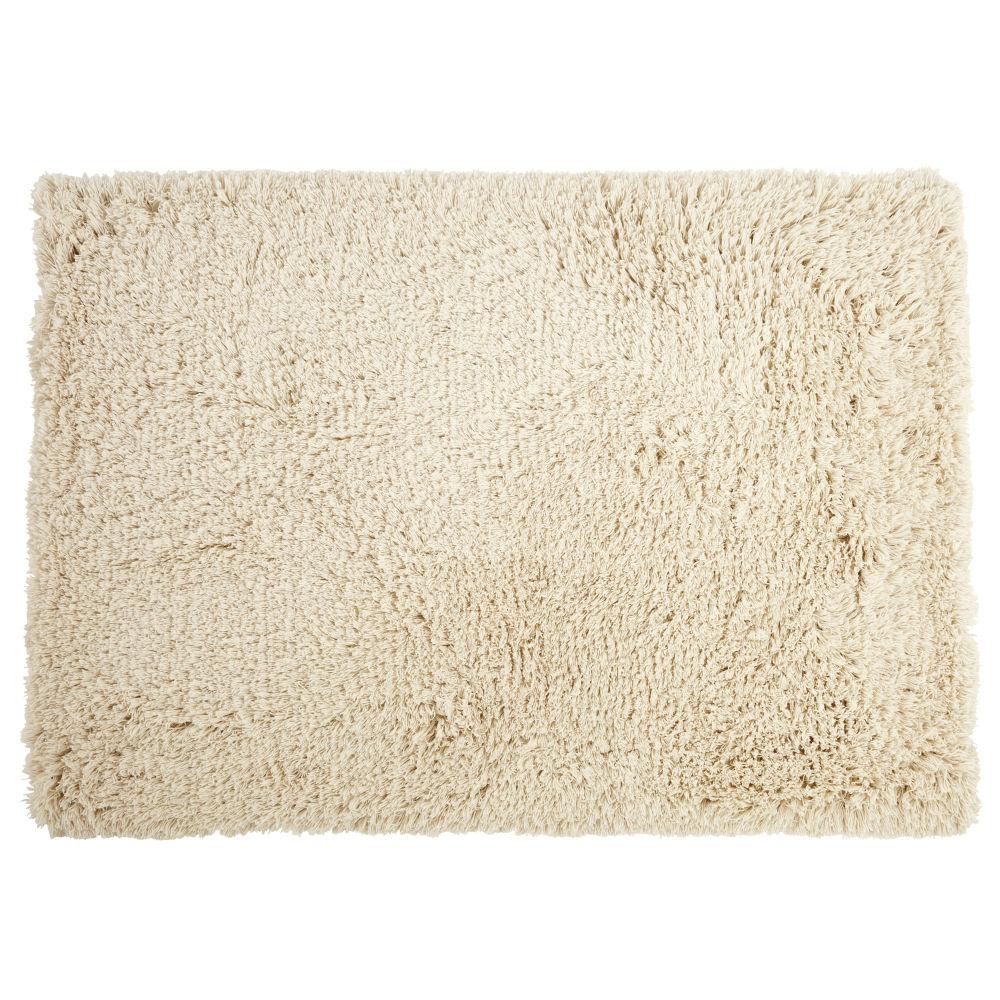 Tapis shaggy tissé main en laine et coton écrus 160x230