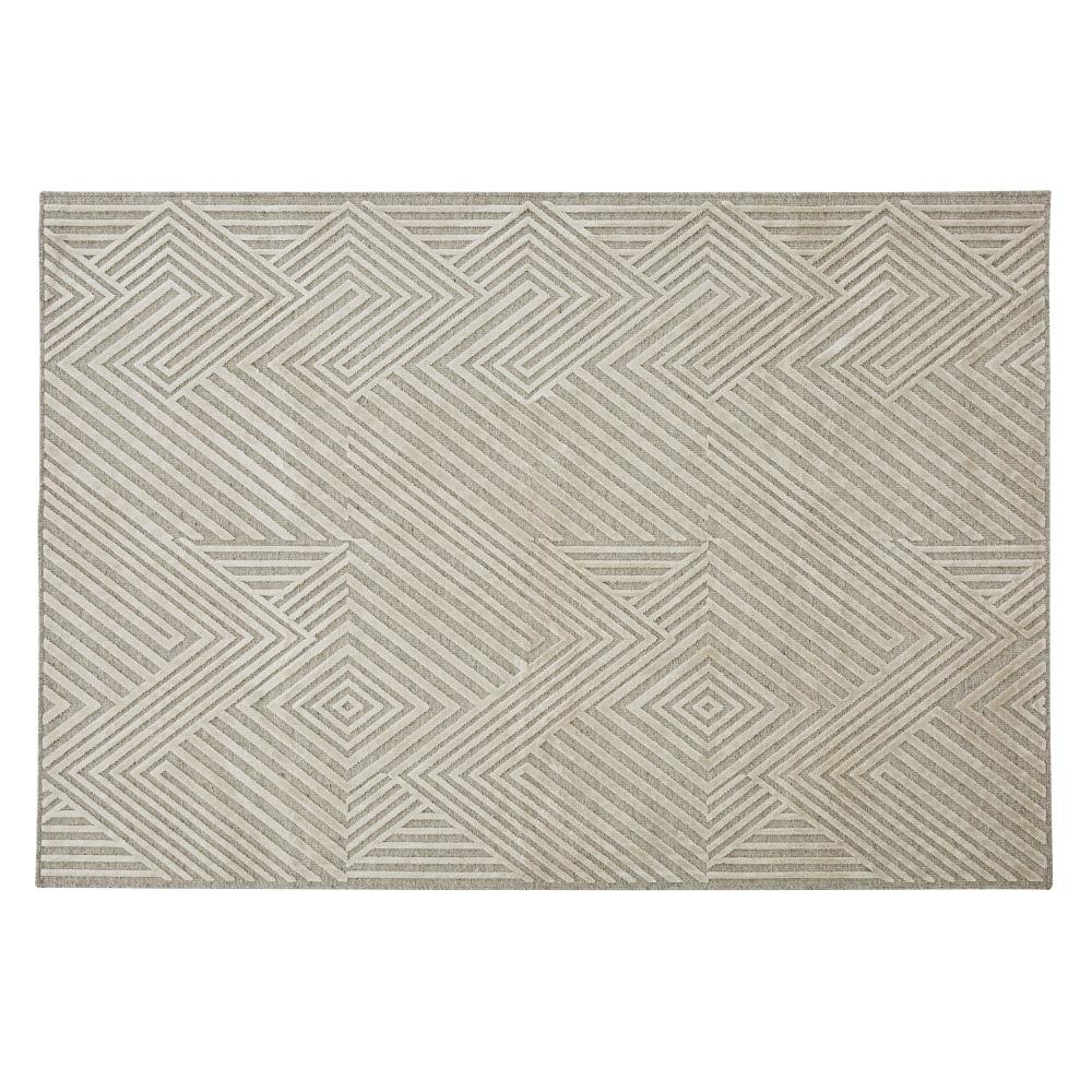 Tapis tissé jacquard beige avec motifs reliefés 160x230
