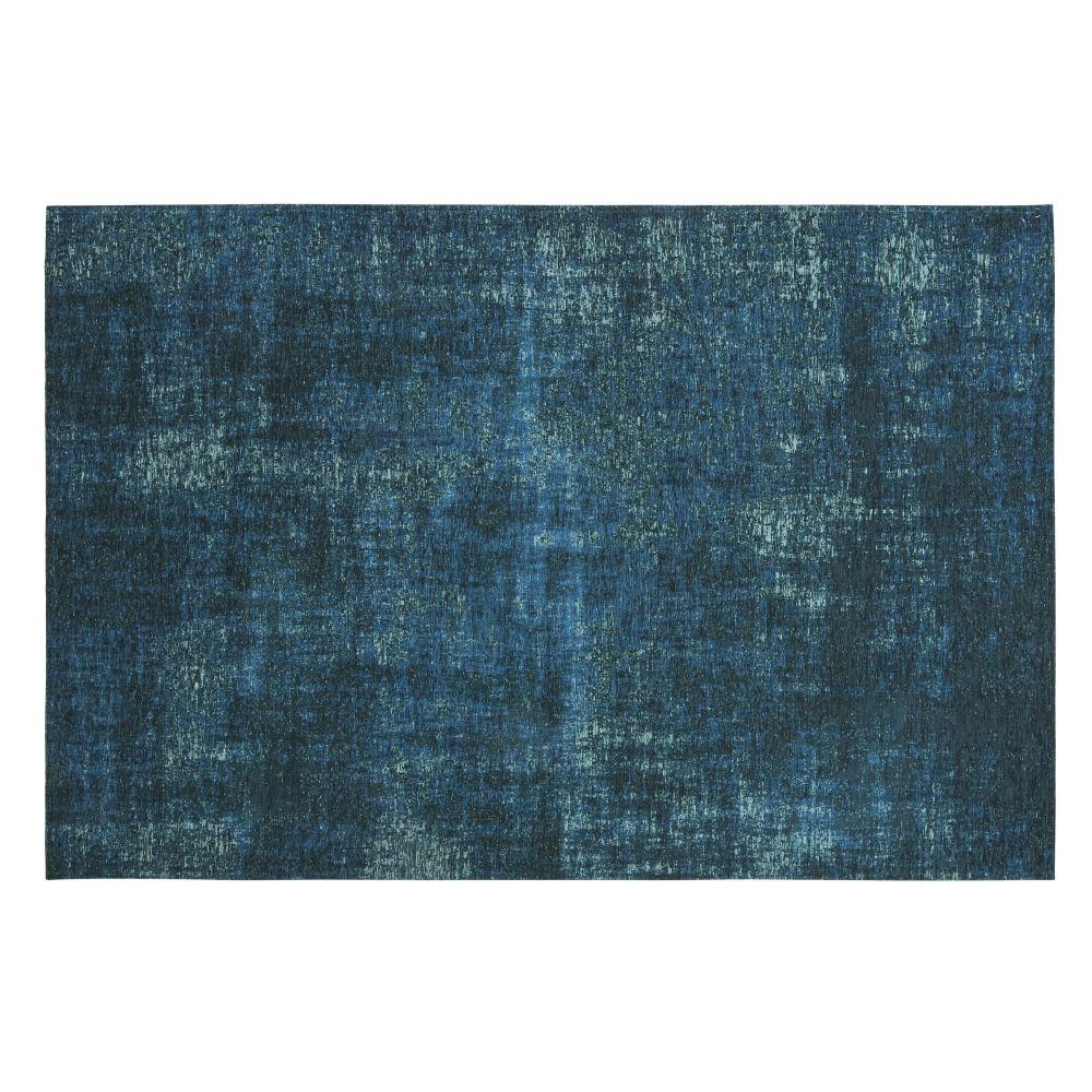 Tapis tissé jacquard bleu canard 140x200, OEKO-TEX®