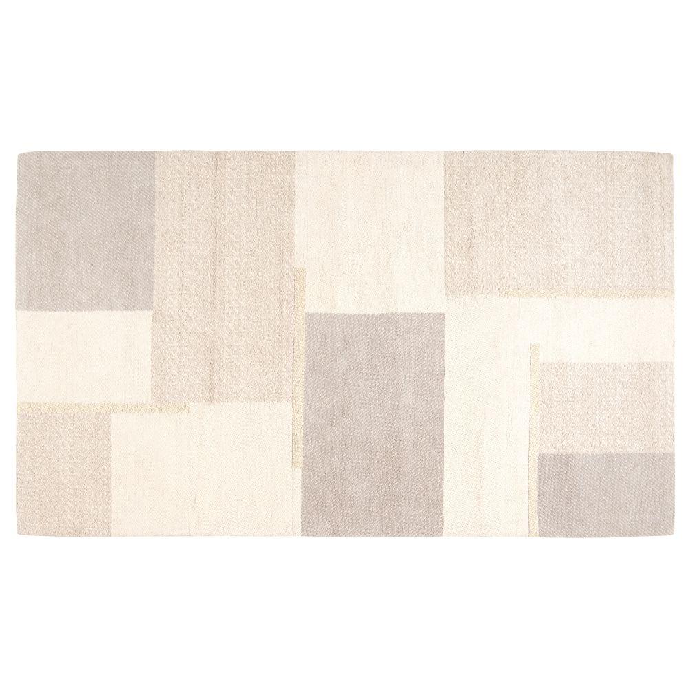 Tapis tissé jacquard motifs asymétriques beige et écru 90x150
