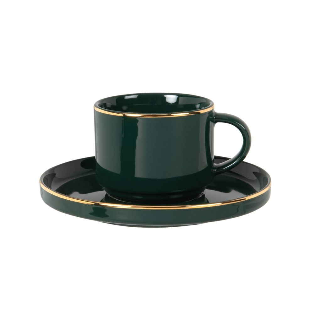 Tasse à café en porcelaine verte et dorée