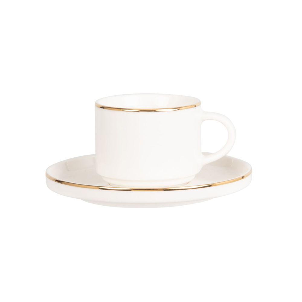 Tasse à café et soucoupe en porcelaine blanche et dorée