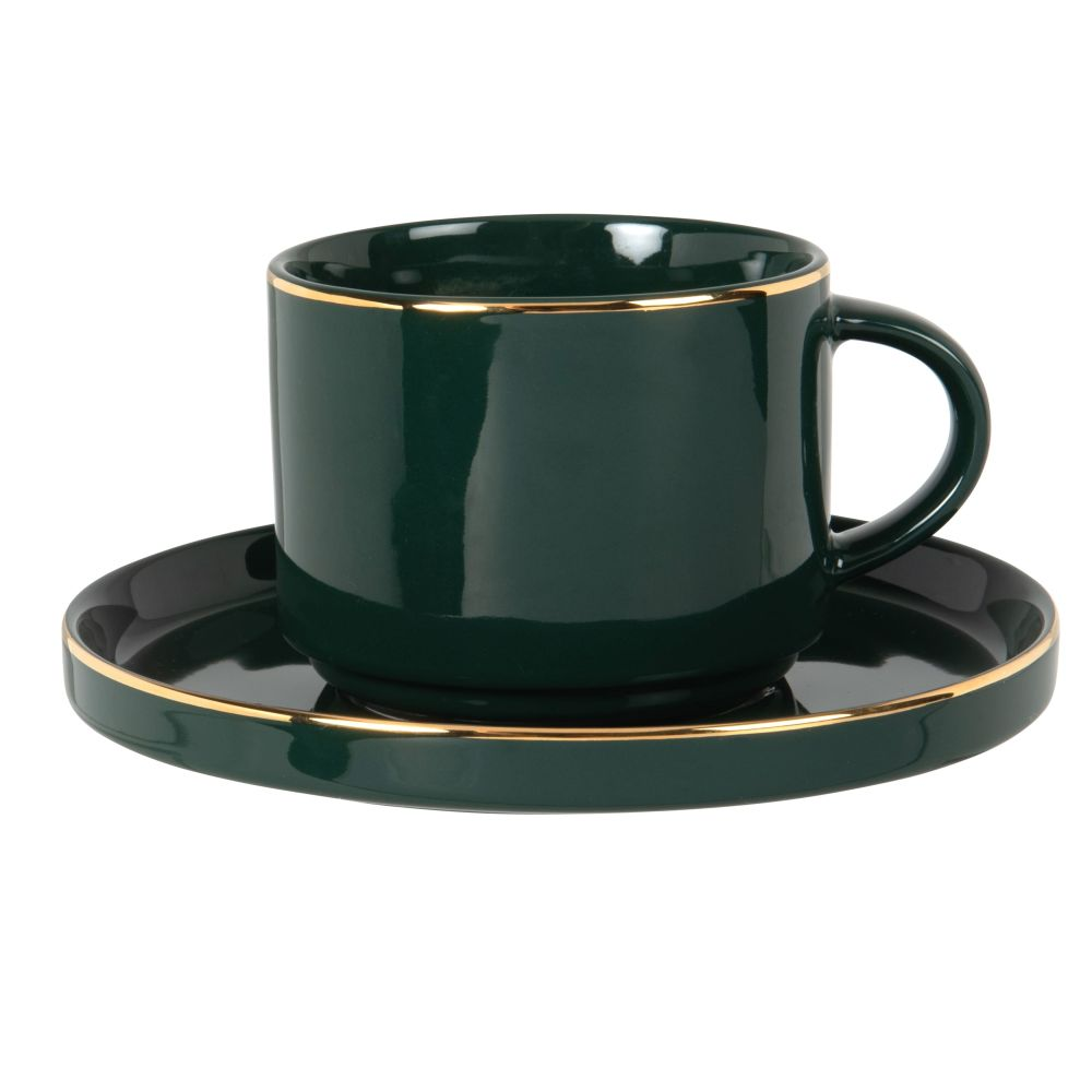 Tasse à thé en porcelaine verte et dorée
