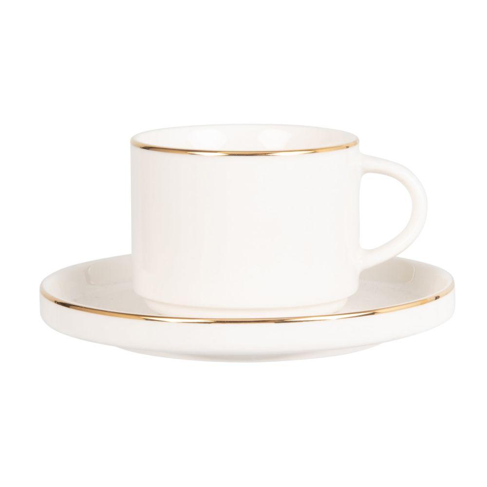 Tasse à thé et soucoupe en porcelaine blanche et dorée