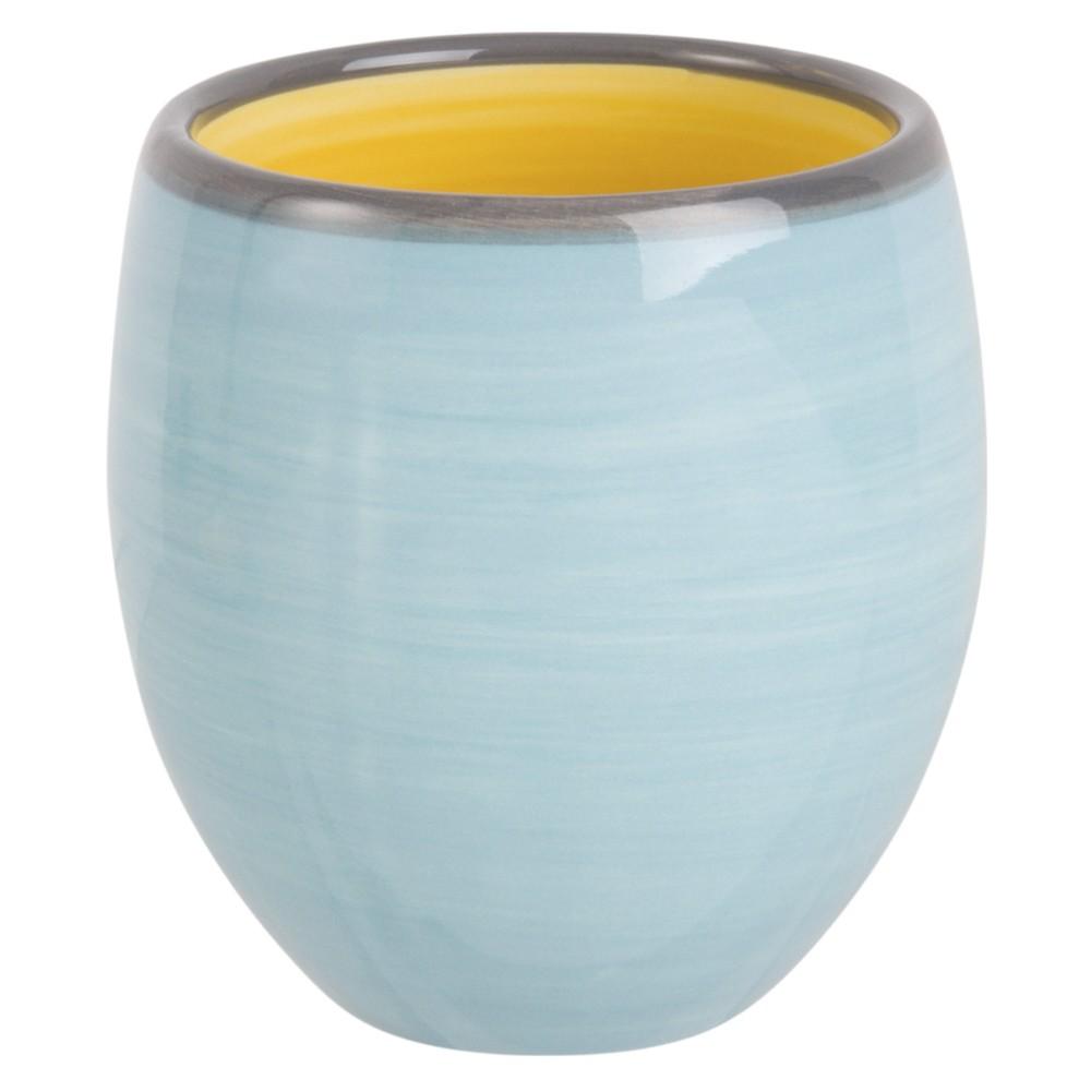 Tasse en faïence bleue et jaune