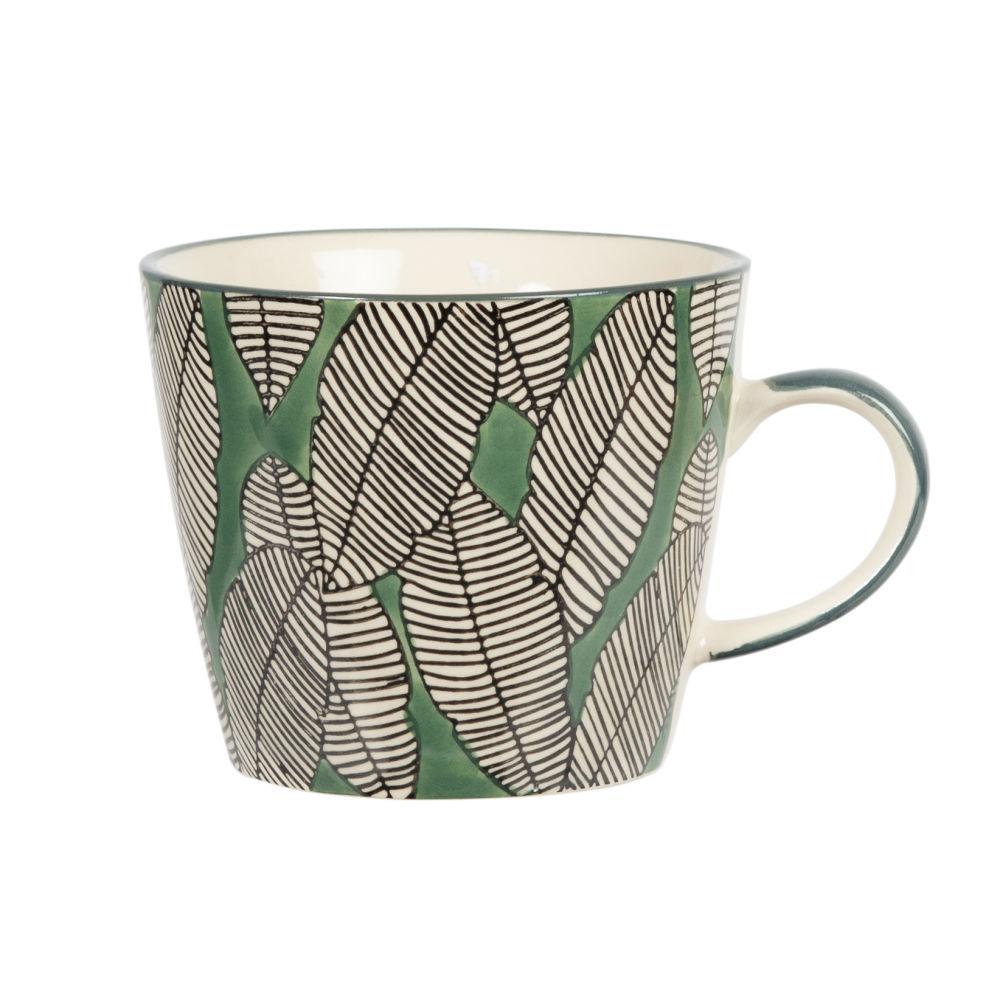 Tasse en faïence motif feuillage vert, noir et blanc