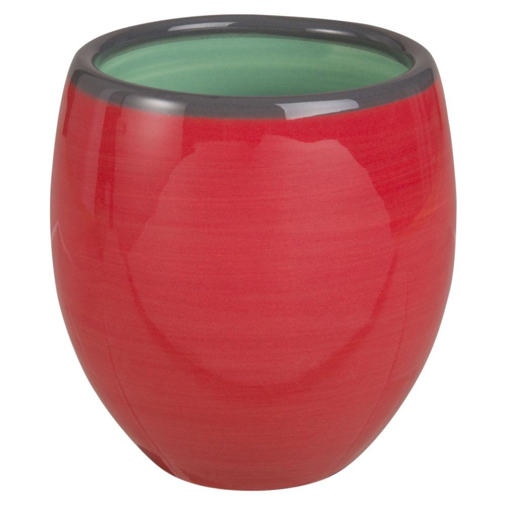 Tasse en faïence rouge et verte