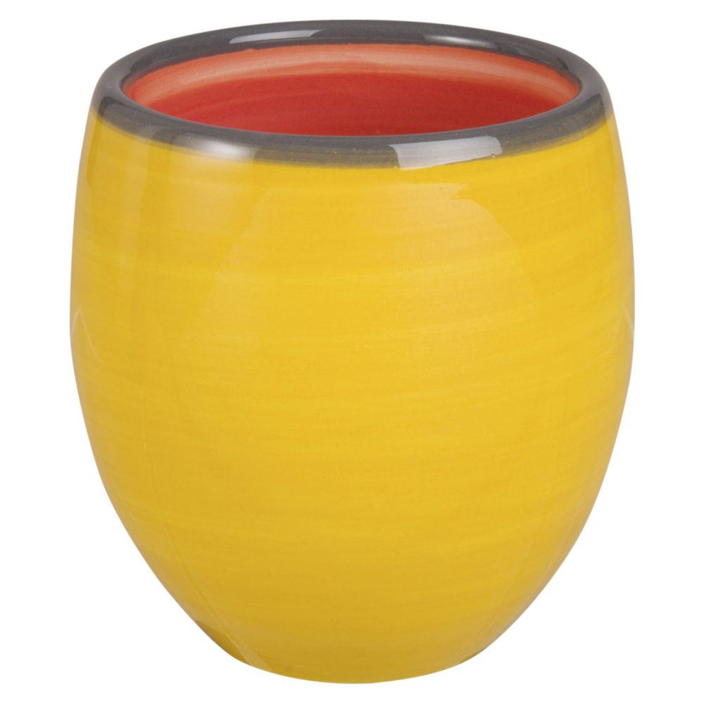 Tasse en faïence rouge et verte jaune et rouge