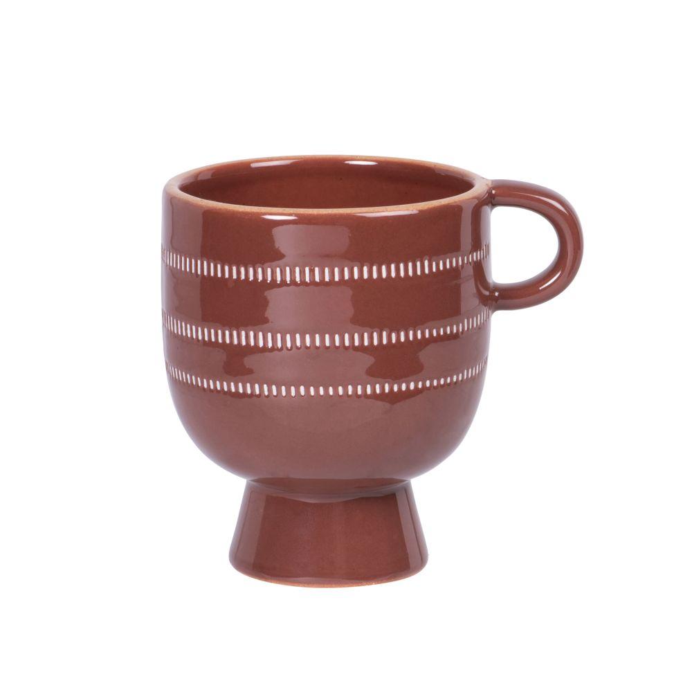 Tasse en porcelaine marron à motifs