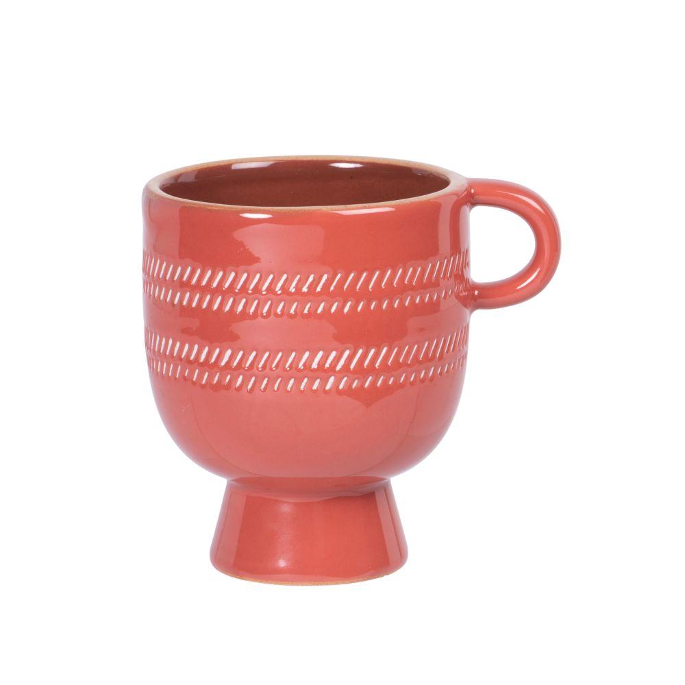 Tasse en porcelaine rouge brique à motifs