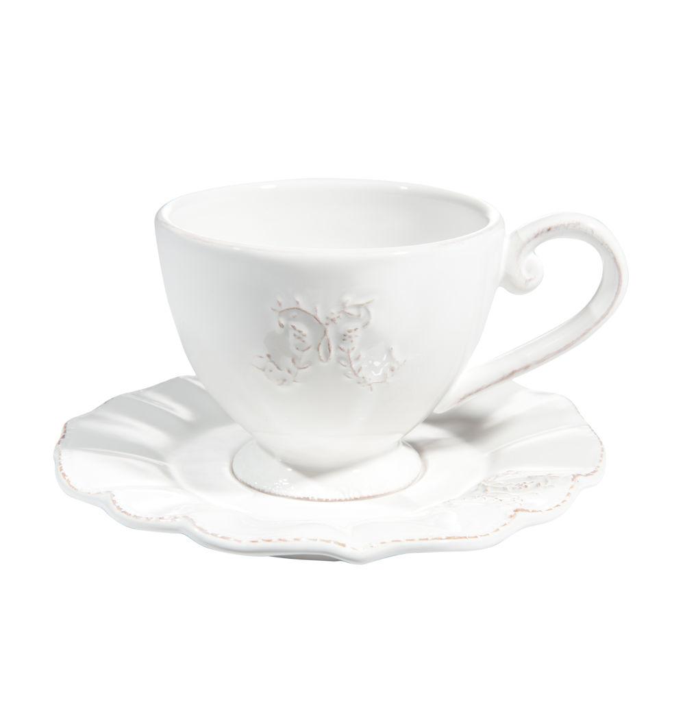 Tasse et soucoupe à café en faïence blanche