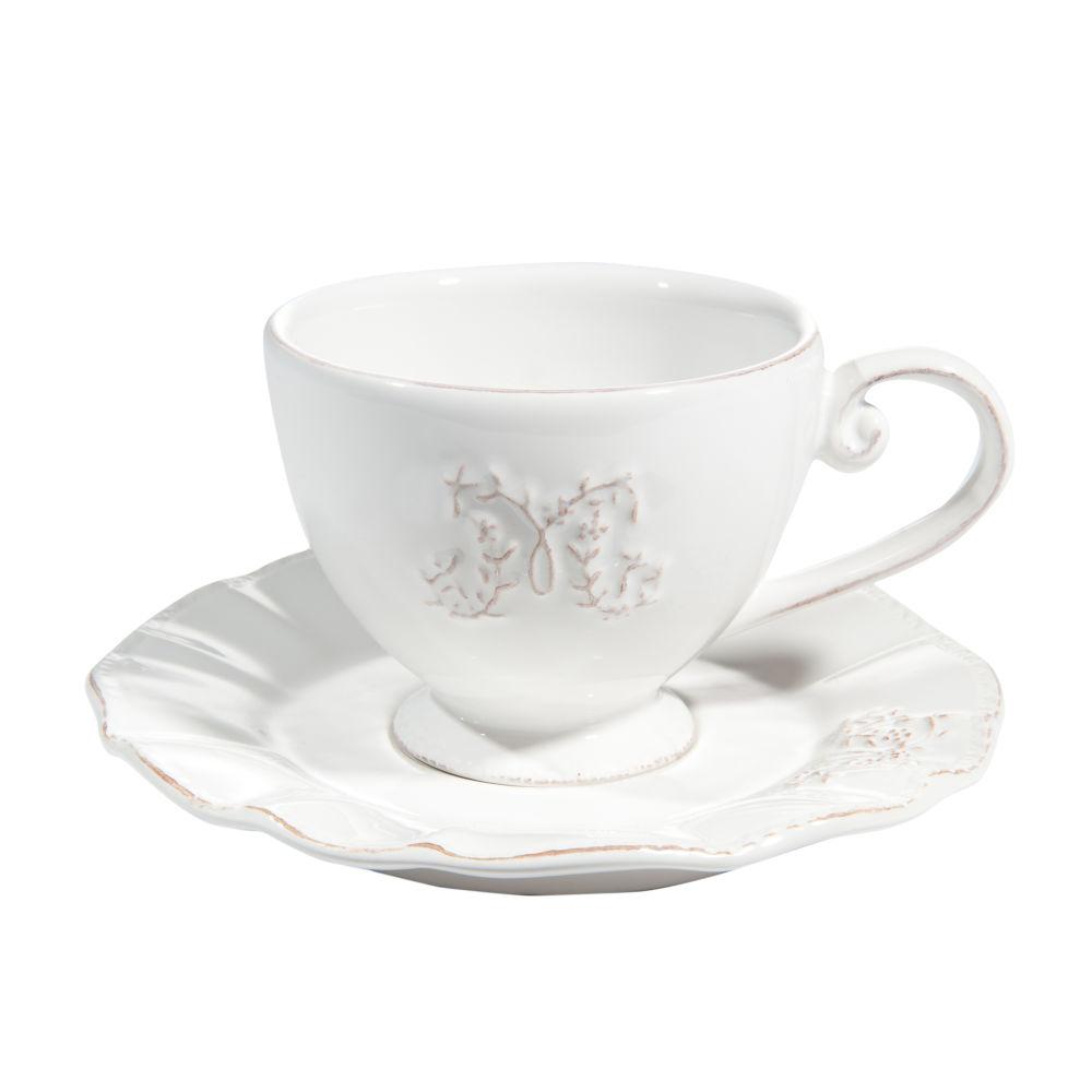 Tasse et soucoupe à thé en faïence blanche