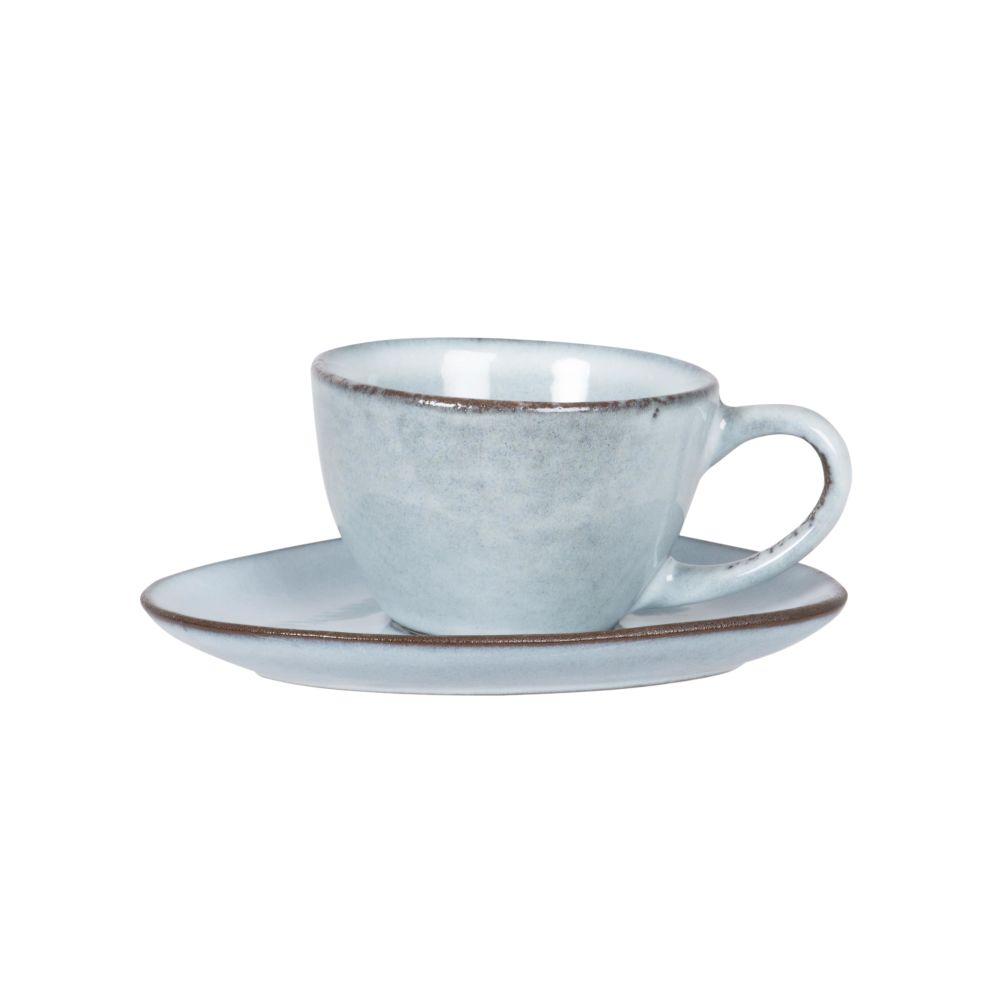 Tasse et soucoupe en grès bleu gris