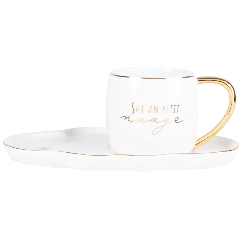 Tasse et soucoupe en porcelaine blanche et dorée