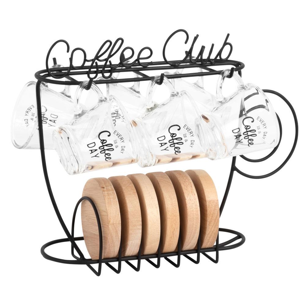 Tasses à café en verre (x6) et support en métal noir