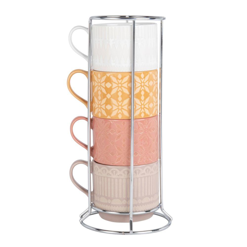 Tasses en faïence multicolore (x4) et support en métal