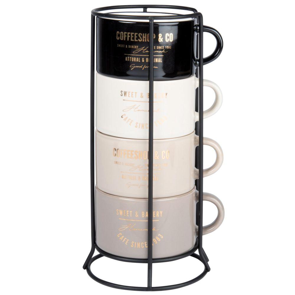 Tasses en faïence noire, crème et beige (x4) et support en métal