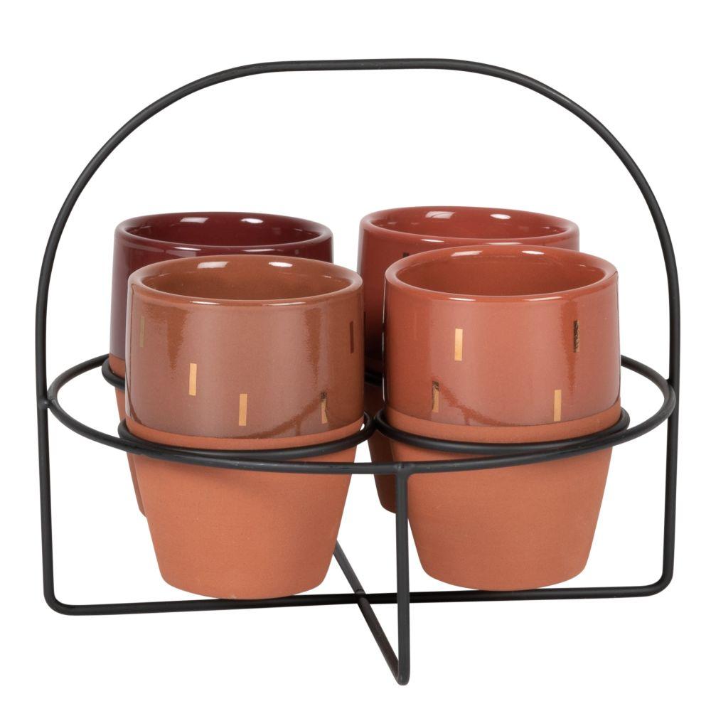Tasses en grès beige, brique, marron et doré (x4) support en métal noir