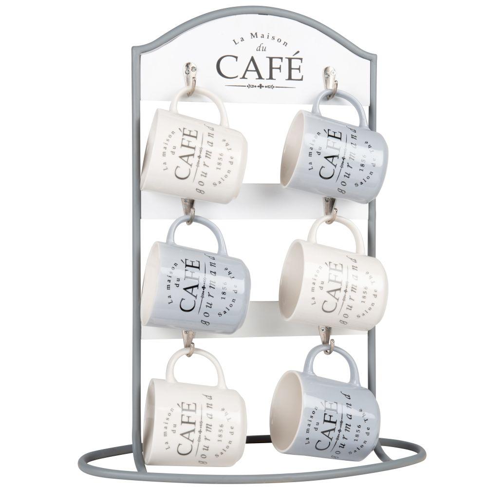 Tasses en porcelaine blanche et grise (x6) et support en métal