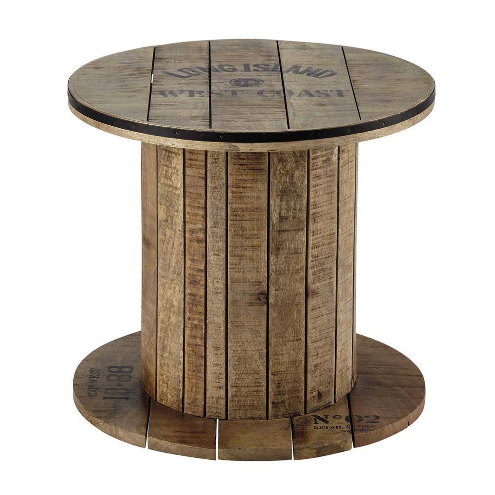 Tavolino da divano ad aspo in mango D 50 cm