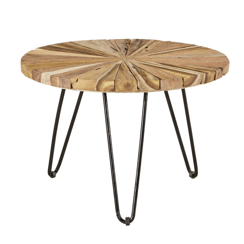Tavolino da divano in legno di teak e metallo nero