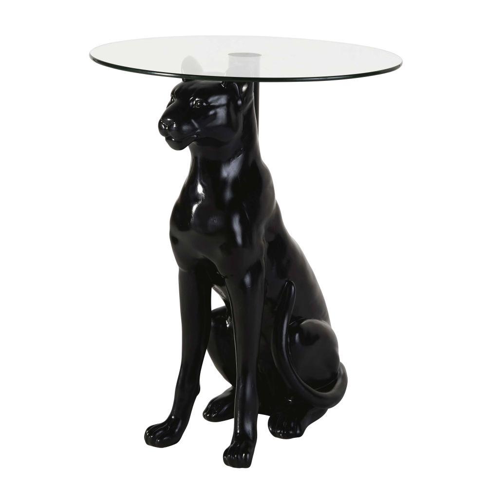 Tavolino da divano pantera nero e vetro