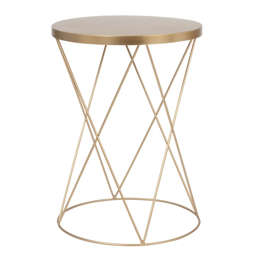 Tavolino da divano rotondo in metallo dorato opaco