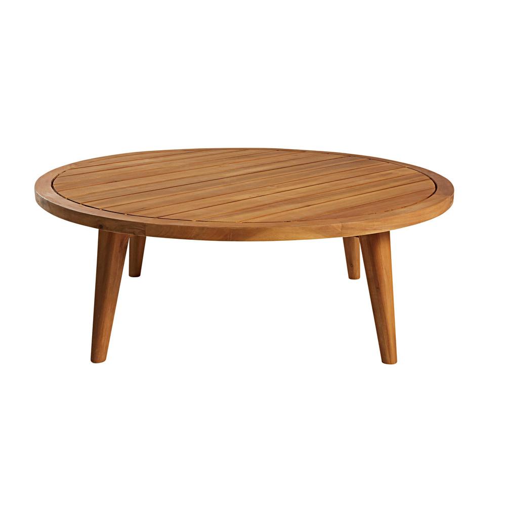 Tavolino da giardino rotondo in legno massello di acacia