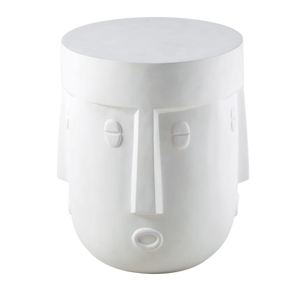 Tavolino da salotto con volto in fibra di vetro bianca