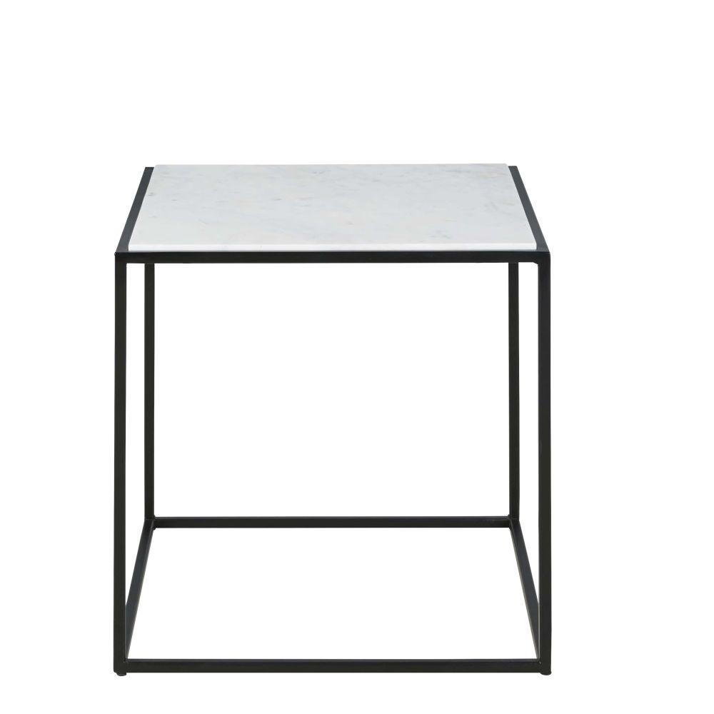 Tavolino da salotto in marmo bianco e metallo nero