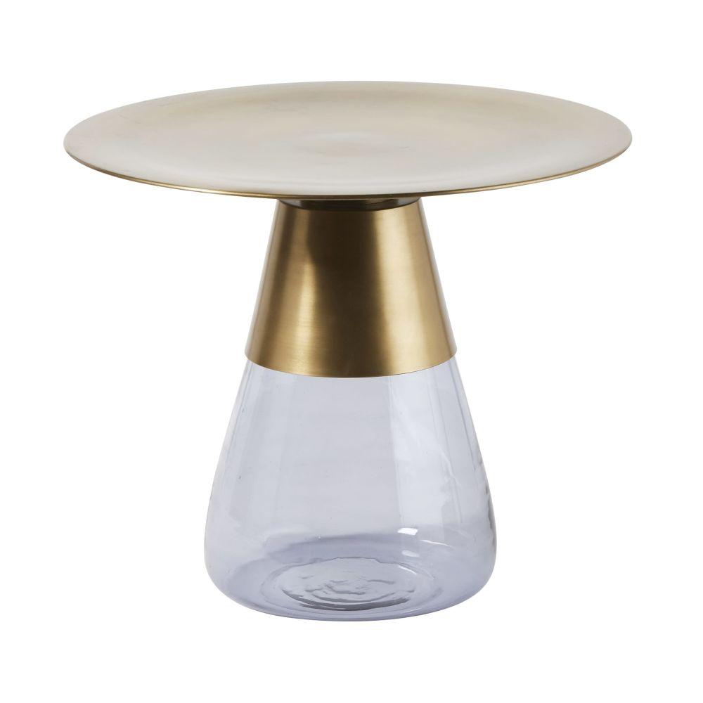 Tavolino da salotto in metallo dorato e vetro fumé