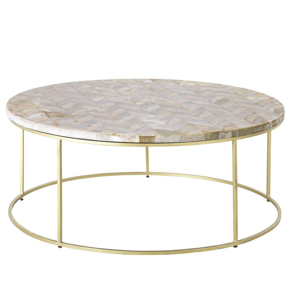 Tavolino da salotto in pietra motivo a spina di pesce