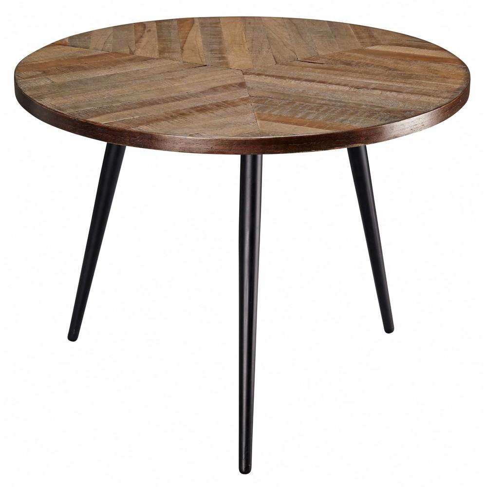 Tavolino da salotto in teak e metallo nero